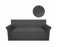 vidaXL funda elástica de tela acanalada color gris para sofá