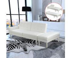 vidaXL Sofá cama reclinable de piel sintética, Blanco