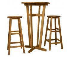 vidaXL Set de mesa y sillas de bar 3 piezas madera maciza de acacia