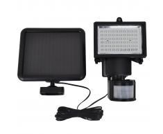 vidaXL Foco LED de jardín energía solar con sensor negro