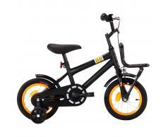 """vidaXL Bicicleta niños y portaequipajes delantero 12"""" negro y naranja"""