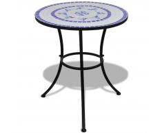 vidaXL Mesa mosaico color azúl y blanco, 60 cm