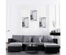 vidaXL Sofá cama extraíble de 4 plazas cuero sintético negro