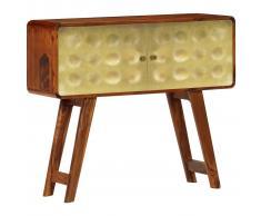 vidaXL Aparador de madera maciza de sheesham y dorados 90x30x77 cm