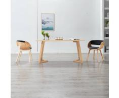 vidaXL Sillas de comedor 2 uds madera curvada y cuero sintético negro