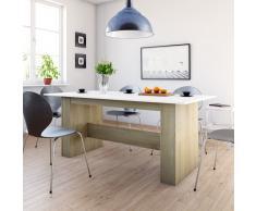 vidaXL Mesa de comedor aglomerado blanco y roble Sonoma 180x90x76 cm