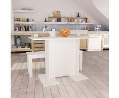 vidaXL Mesa de comedor de aglomerado blanco 110x60x75 cm