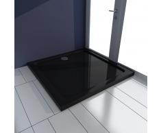vidaXL Plato de ducha cuadrado de ABS, color negro, 80 x 80 cm