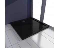 vidaXL Plato de ducha cuadrado ABS, color negro, 80 x cm