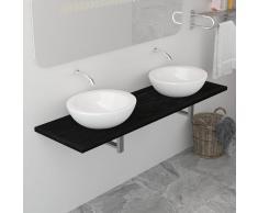 vidaXL Mueble de cuarto de baño negro 160x40x16,3 cm