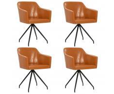 vidaXL Sillas de comedor giratoria 4 unidades cuero sintético marrón