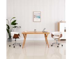 vidaXL Silla comedor giratoria madera curvada cuero sintético blanco