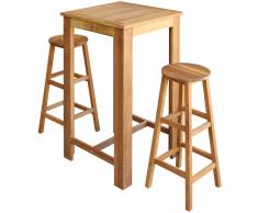 vidaXL Set de mesa y taburete bar 3 unids madera maciza acacia