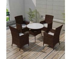 vidaXL Conjunto de muebles jardín 9 piezas poli ratan marrón