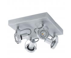EGLO Lámpara de techo con 4 focos LED Novorio 4L 94645, aluminio