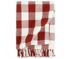 vidaXL Manta a cuadros de algodón rojo piedra 125x150 cm