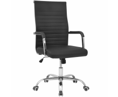 vidaXL silla de oficina cuero artificial 55x63 cm color negro