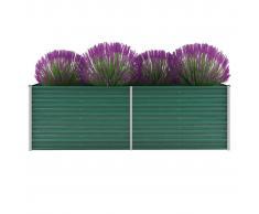 vidaXL Jardinera de jardín de acero galvanizado 240x80x77 cm verde