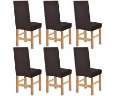 vidaXL Funda elástica para silla de franja ancha marrón 6 unidades
