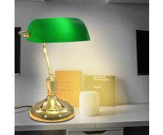 vidaXL Lámpara de mesa tipo banquero verde y dorado 40 W