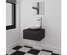 vidaXL Conjunto de mueble y lavabo 3 piezas negro