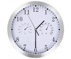 vidaXL Reloj de pared de cuarzo higrómetro y termómetro 30 cm blanco