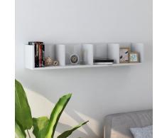 vidaXL Estante pared para CD aglomerado blanco brillante 100x18x18 cm