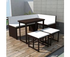 vidaXL Juego de comedor de jardín 5 piezas ratán PE y acero marrón