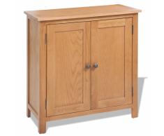vidaXL Cómoda de madera de roble maciza 70x35x75 cm marrón