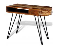 vidaXL Escritorio de madera maciza reciclada con patas delgadas hierro