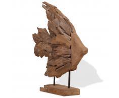 vidaXL Escultura en forma de pez de madera de teca 40x12x57 cm