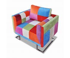 vidaXL Sillón con diseño de cubo de retales de tejido con patas cromadas