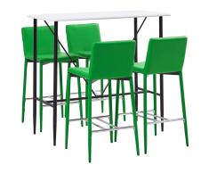 vidaXL Juego de mesa alta y taburetes 5 piezas cuero sintético verde