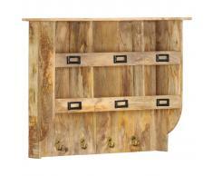 vidaXL Perchero de pared de madera maciza de mango 70x20x55 cm