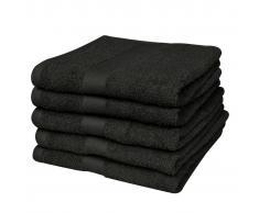 vidaXL Toallas de ducha 5 unidades algodón 500 gsm 70x140 cm negras
