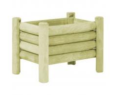 vidaXL Jardinera de madera de pino impregnada 60x40x42 cm