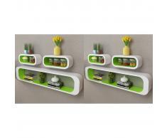 vidaXL Estanterías de cubos para pared 6 unidades blanco y verde
