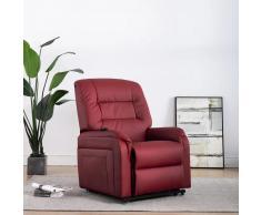 vidaXL Sillón eléctrico reclinable incorporación cuero sintético vino