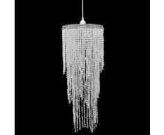 vidaXL Lámpara colgante elegante con cristales, 26 x 70 cm