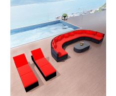 vidaXL Set de muebles de jardín 13 pzas y cojines ratán sintético rojo