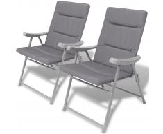 vidaXL Sillas plegables de jardín 2 unidades con cojín gris