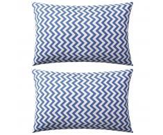 vidaXL Cojines para exterior rayas zigzag 60x40 cm azul marino 2 uds.