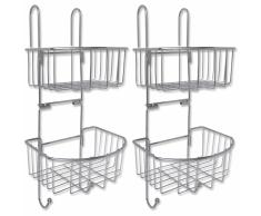 vidaXL Estantería de ducha 2 estantes piezas metal