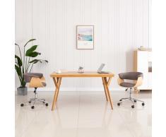 vidaXL Silla de comedor giratoria de madera curvada y tela gris taupe