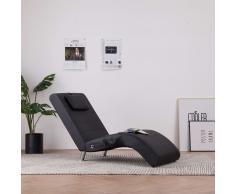 vidaXL Diván de masaje con almohada de cuero sintético negro