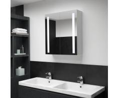vidaXL Armario de cuarto de baño con espejo y LED 62x14x60 cm