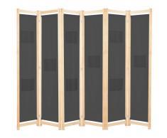 vidaXL Biombo divisor de 6 paneles de tela gris 240x170x4 cm