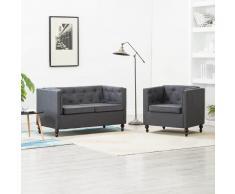 vidaXL Set de sofás Chesterfield 2 piezas tapizado de tela gris oscuro
