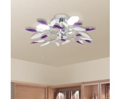 vidaXL Lámpara de techo con forma hojas, cristal acrílico blanco y morado