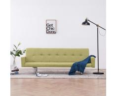 vidaXL Sofá cama con reposabrazos de poliéster verde